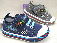 BABY BOYS NAVY GREY LEATHER INSOLE TRAINERS CANVAS VELCRO SHOES SIZES 3 4 5 6 7