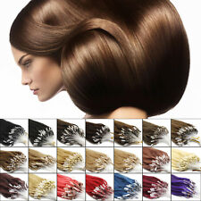 Premium Remy Human Hair Extensions Loop Silicone Micro Rings Beads Tip 16-26Inch