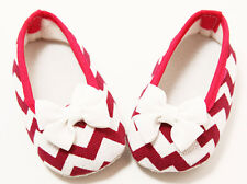 Hot Pink Chevron Baby Crib Shoes with Bows- Newborn, 3-6 Months, 6-12 Months