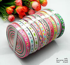 """10/20yards 3/8"""" mixed 10/Style sewing satin grosgrain ribbon lot wholesale A3.0"""