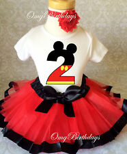 Red Black Mickey Mouse 2nd Second Birthday Shirt Tutu Outfit Set Party girl