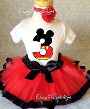 Red Black Mickey Mouse Girl 3rd Third Birthday Tutu Outfit Set Shirt Party