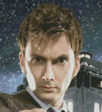 Cross stitch chart, pattern. Dr. Who, Tardis, David Tennant, Time Lord, Doctor.