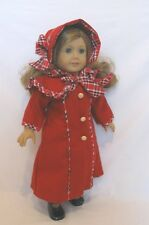 """Doll Clothes AG 18"""" Samantha Dress Coat Hat Red Wool Fits American Girl Dolls"""