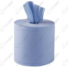 2 ply BLUE embossed centrefeed paper rolls disposable cleaning wipes perforated
