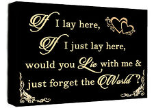 If I Lay Here - Snow Patrol QUOTE Canvas Wall Art Picture Print Black & Cream