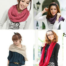 NEW Women Winter Warm Infinity 2 Circle Cable Knit Cowl Neck Long Scarf Shawl