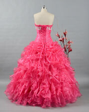 In Stock Organza Quinceanera Dresses Hot Pink Prom Formal Party Ball Gown