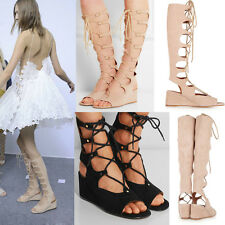 Women's Gladiator Sandals Shoes Strappy Lace Up Suede Cut Out Summer Wedge Boots