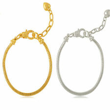 Gold & silver Plated Lobster Clasp Snake Chain Bracelet Fit European Charms Bead