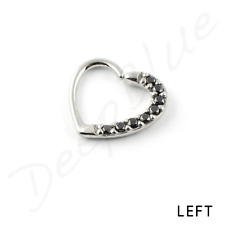 Surgical Steel HEART RING PAVE SET MULTI CRYSTALS 1.2 x 10mm Daith Helix Ear