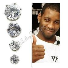 Pair of White Magnetic Earring Stud Ear plug Piercing Free CZ Crystal Fake Round