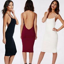 Sexy Women Summer Sleeveless Bodycon Midi Dress Backless Cocktail Evening Party