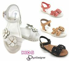 Youth Kids Girls Floral Cute Sandal Shoe Flip Flops Buckle Summer Colorful Sz9-4