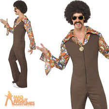 Groovy Boogie Costume Mens 60s 70s Disco Jumpsuit Fancy Dress Outfit New