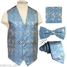 Turquoise Blue Paisley Tuxedo Dress Vest Waistcoat & Neck tie & Bowtie And Hanky