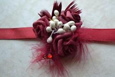 Wedding  & Prom wrist flowers corsage, buttonhole,maroon rose, beads
