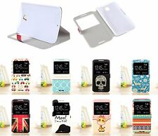New Cute Cartoon Pattern Window Leather Stand Case Cover For Google Nexus 6