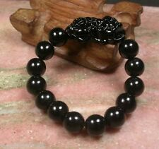 Chinese Black Natural Jade Gems Pi Xiu Round Beads Stretchy Bracelet for Luck