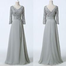 2015 Grey Long Chiffon Mother of the Bride Groom Dress Wedding Evening Gowns new