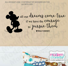 Disney All Our Dreams Come True Quote Vinyl Wall Decal Lettering Mickey Mouse