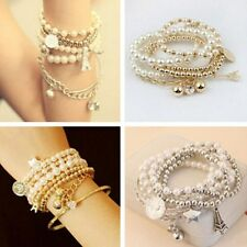 Fashion Jewelry Women Unique Gold Metal Pearl Multilayer Pendant Bracelet Bangle