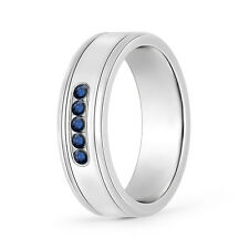 0.25 ct Round Blue Sapphire Men's Wedding Band Ring Size 4-13 in 14k White Gold
