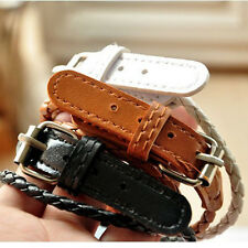 New Fashion Weaved Leather Double Wrap Belt Punk Bracelet Wristband Wholesale CN