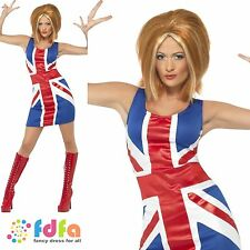 Ginger Spice Girl Power Union Jack-Reino Unido 8-18 - Para Mujer Damas Fancy Dress Costume