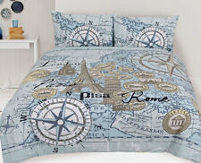 Euro Map Quilt Doona Duvet Cover Set Paris Bedding Rome Europe London Pisa New