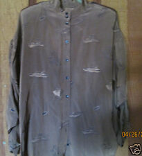 Blouse Tunic  3/4 LENGTH SLEEVE  Brown  WITH SHIPS button Front SZ LARGE