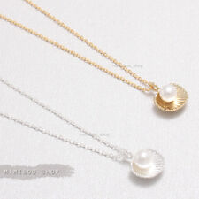 """Delicate Tiny Sea Shell with Pearl Accent Pendant with Chain Necklace 15.5"""""""