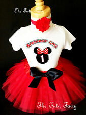 Minnie Mouse Black Red Ears Baby Girl 1st First Birthday Tutu Outfit Shirt Set