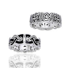 Mammen Weave Viking Knot Wedding Band Norse Celtic Sterling Silver Ring