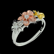 Hawaiian Plumeria Flower Ring 8-10-8mm Tri Colors 925 Sterling Silver Rhodium CZ