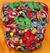 All In One Adult Baby Reusable Cloth Diaper S,M,L,XL Super Heroes