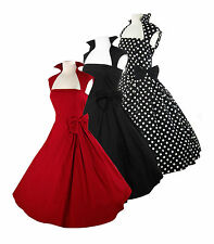 RETRO 50'S ROCKABILLY SWING PINUP VINTAGE COCKTAIL PROM EVENING DRESS  8 - 28