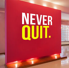 Never Quit Motivational Wall Decal Martial Arts Boxing Fitness Weight Loss Diet