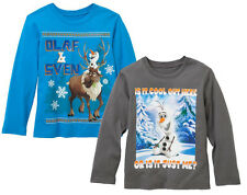 Disneys Frozen Olaf & Sven Let it Go Cool Out Youth Graphic Tee Kids TShirts NEW