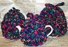 Hand Knitted Multi Coloured Sml, Med or Large Tea Cosy / Cozy with Bow & Bells