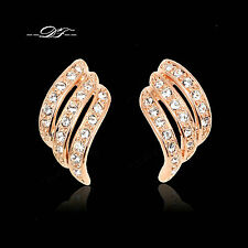 Angle Wings Cubic Zirconia Stud Earring 18KRGP Fashion Crystal Jewelry For Women
