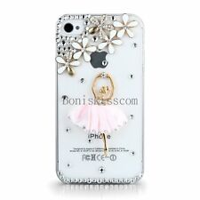 Luxury Bling Rhinestone 3D Ballet Girl Clear Hard Skin Case Cover for  iPhone 4