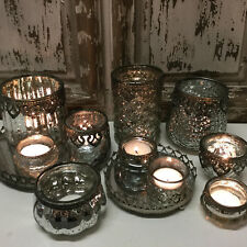 Chic Antique Style Glass & Metal Vintage Tea Light Candle Holder French Country