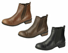 Ladies Spot On Synthetic Brogue Ankle Boot in Black, Brown or Tan - F50259