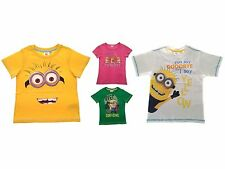 Girls Boys Official Despicable Me Minions T-Shirts Kids Summer Tops Size 3-16 Y