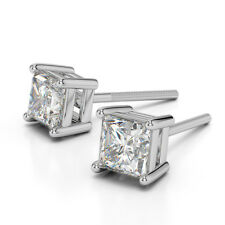 Limited Natural Eye Clean VS2 Sparkling F-G Princess Diamonds Gold Stud Earrings