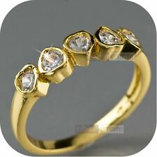 18k yellow gold gp women's wedding dress made with SWAROVSKI crystal Ring heart