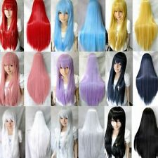 Candy Colors Fashion Womens Long Straight Cosplay/Halloween Full Hair Wig Wigs