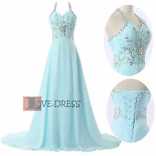 STOCK New Hot Chiffon Halter Bridesmaid Prom Party Formal Evening Dress Size6-18