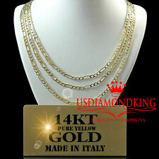 14K 100% REAL SOLID YELLOW ITALIAN GOLD FIGARO LINK CHAIN NECKLACE LADIES MEN'S